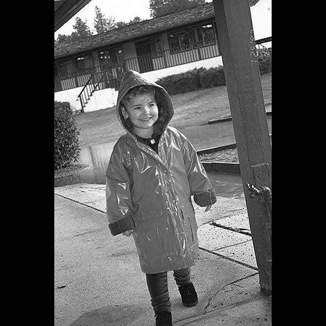 Ready for rain. Can't wait for El Niño. . #oldshot #Gilroy #California #gilroycalifornia #usa #canon #preschool #rain #blackandwhite #daughter #smile