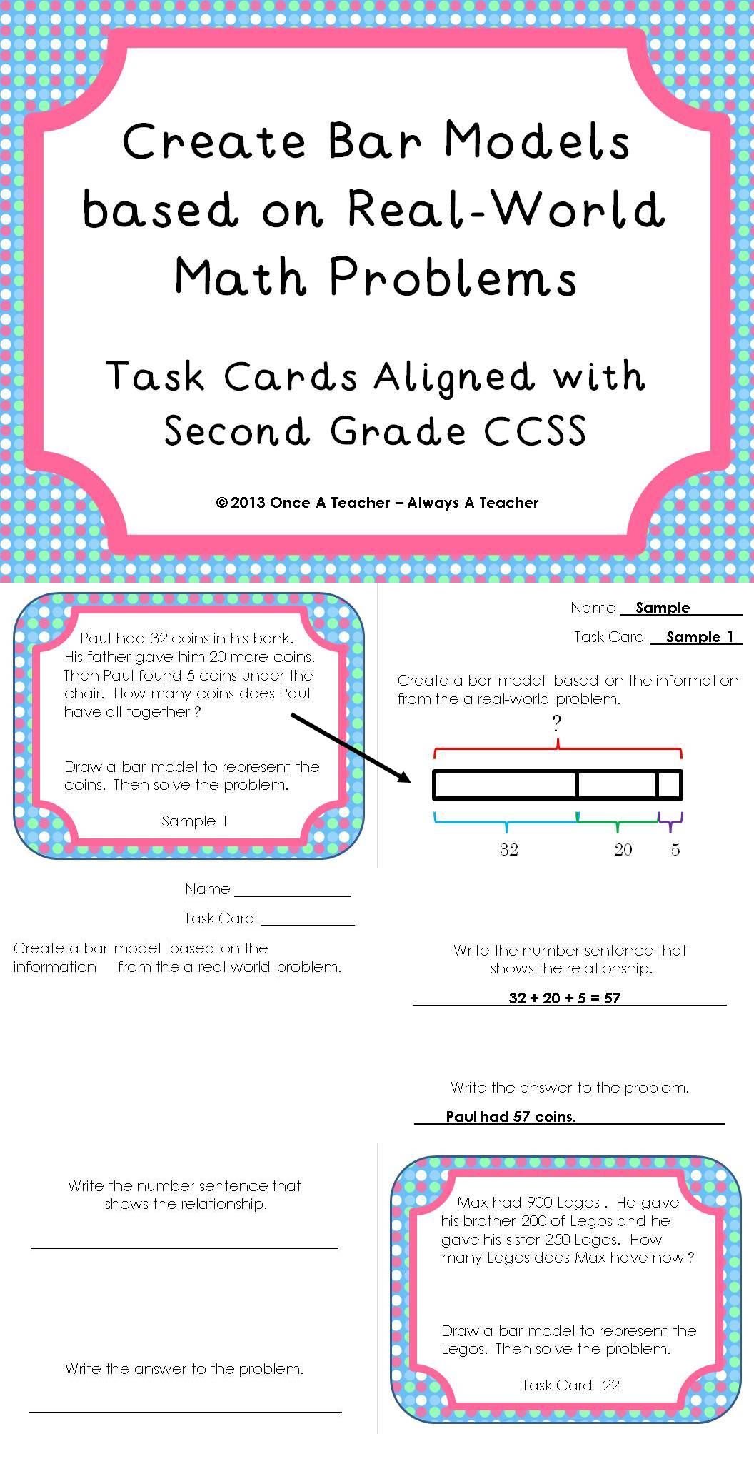 Create Bar Models based on Real-World Math Problems - Task Cards ...