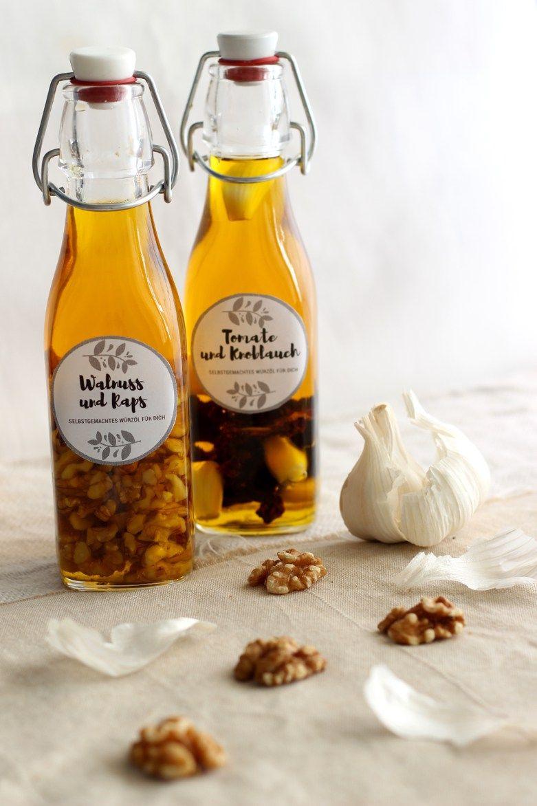 Zweierlei selbstgemachte Würzöle (+ gratis Etiketten!) | Bäckerina