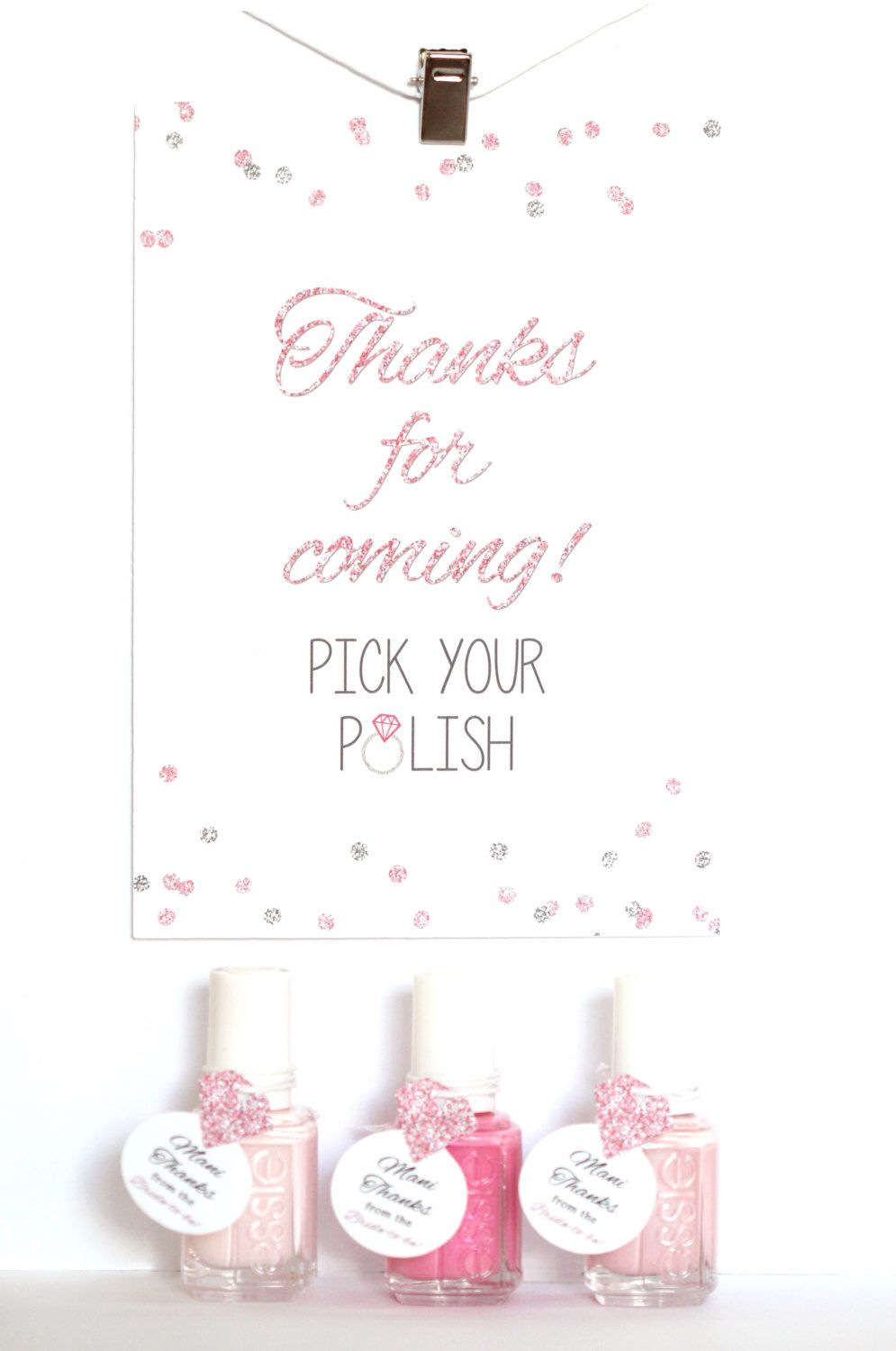 Nail Polish Favor Sign, Mani Thanks Shower Sign, Bridal Wedding Shower Sign, Bachelorette Party, Thanks For Coming Pick Your Polish Sign by PinkFoxPapercrafts on Etsy https://www.etsy.com/listing/468851811/nail-polish-favor-sign-mani-thanks