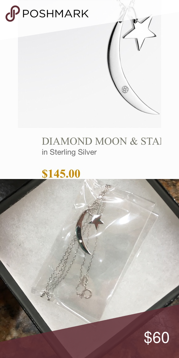 Fifth Bond: DIAMOND MOON & STAR necklace Sterling silver with very small diamond, NEW never worn, still in packaging Fifth Bond Jewelry Necklaces
