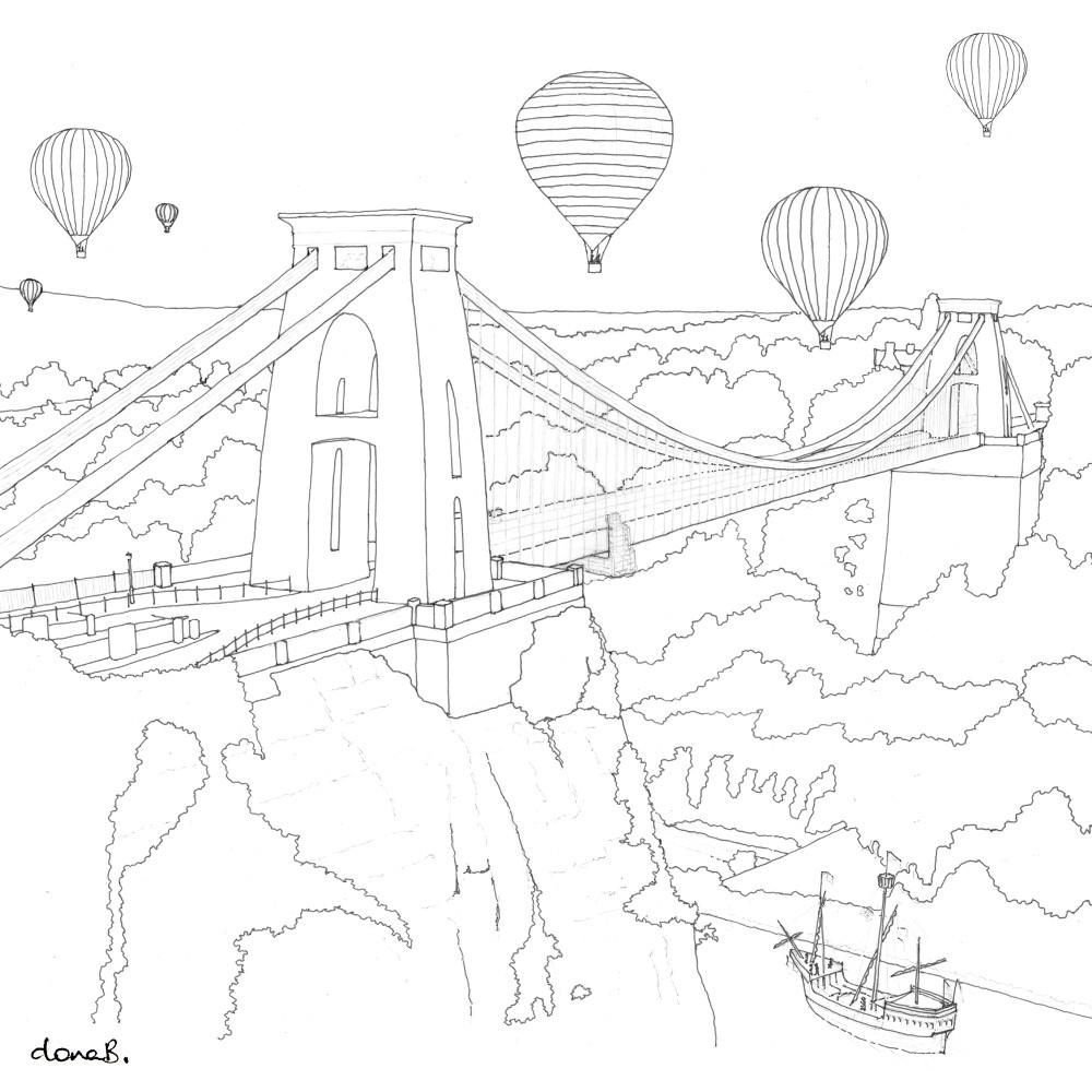 Clifton Suspension Bridge Colour Me In Greetings Card By Dona B Drawings Bridge Drawing Drawings Bridge Art