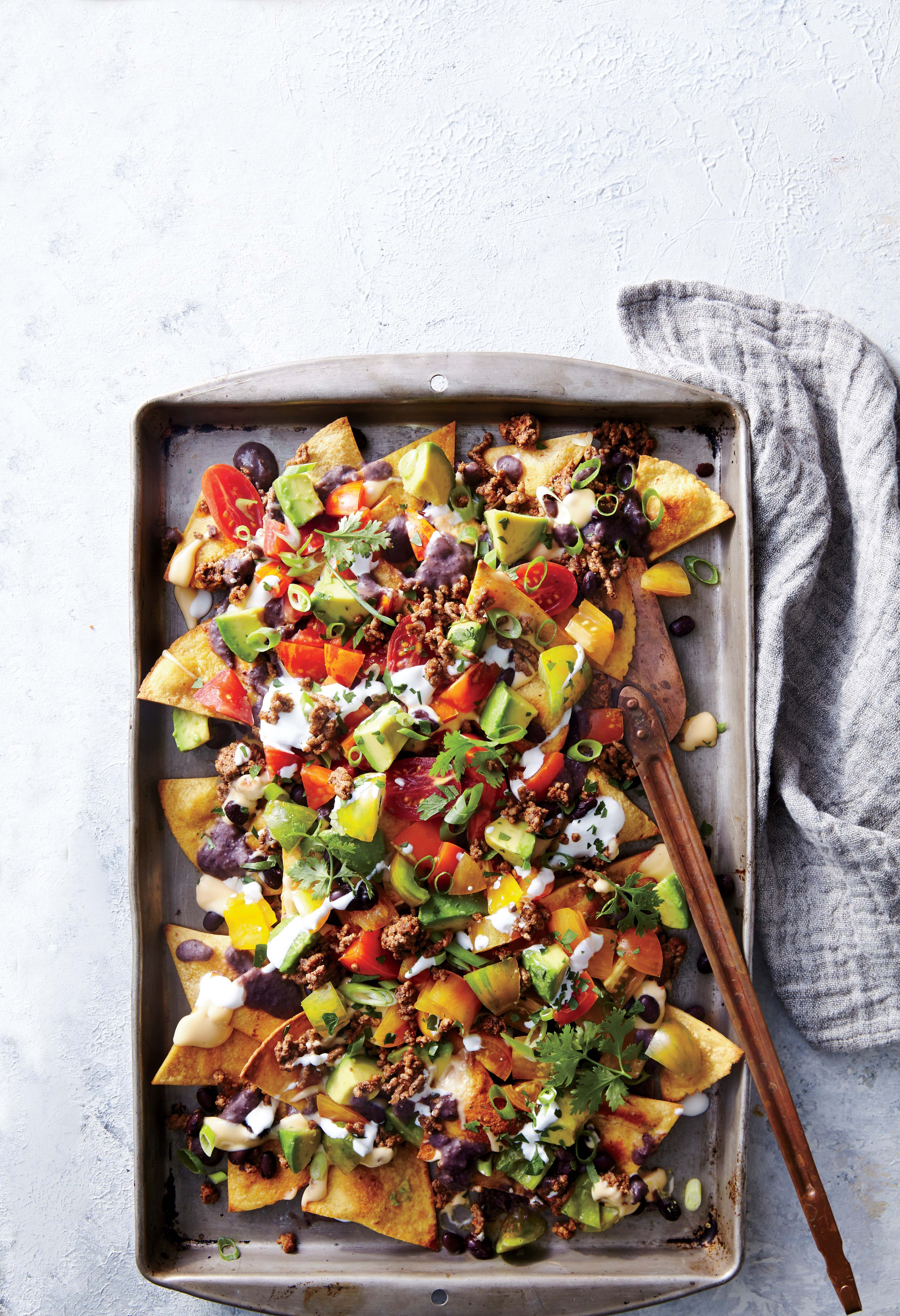 Sheet Pan Beef And Black Bean Nachos Recipe Beef Recipes Ground Beef Recipes Cooking Light