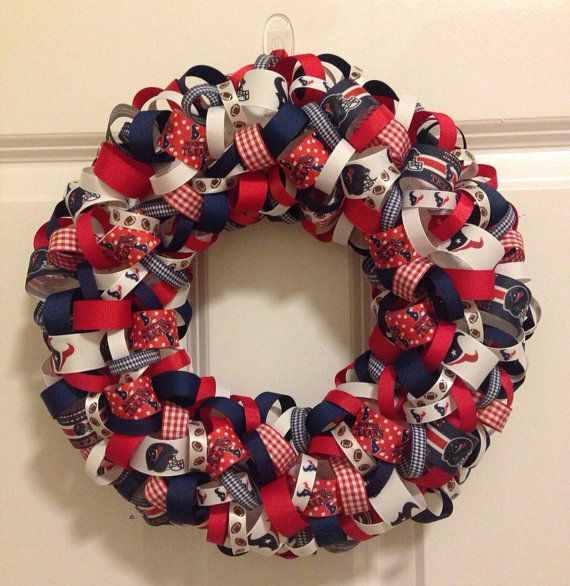 Nfl Houston Texans Ribbon Wreath On Etsy 40 00 Ribbon Wreath Deco Mesh Wreaths 4th Of July