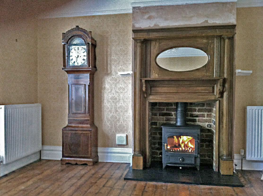 Antique arts & crafts oak mantel with reclaimed brick slip chamber, slate  tiled hearth and - Fireplace Mantels Edwardian Fireplace Mantel Fire Surrounds