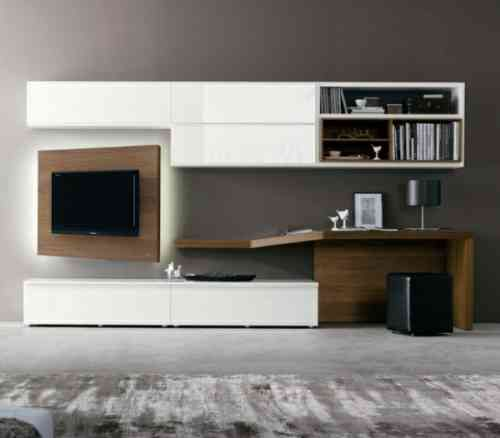 40 Meubles Tele De Design Original Et Pratique Desk In Living Room Desk Wall Unit Modern Tv Units