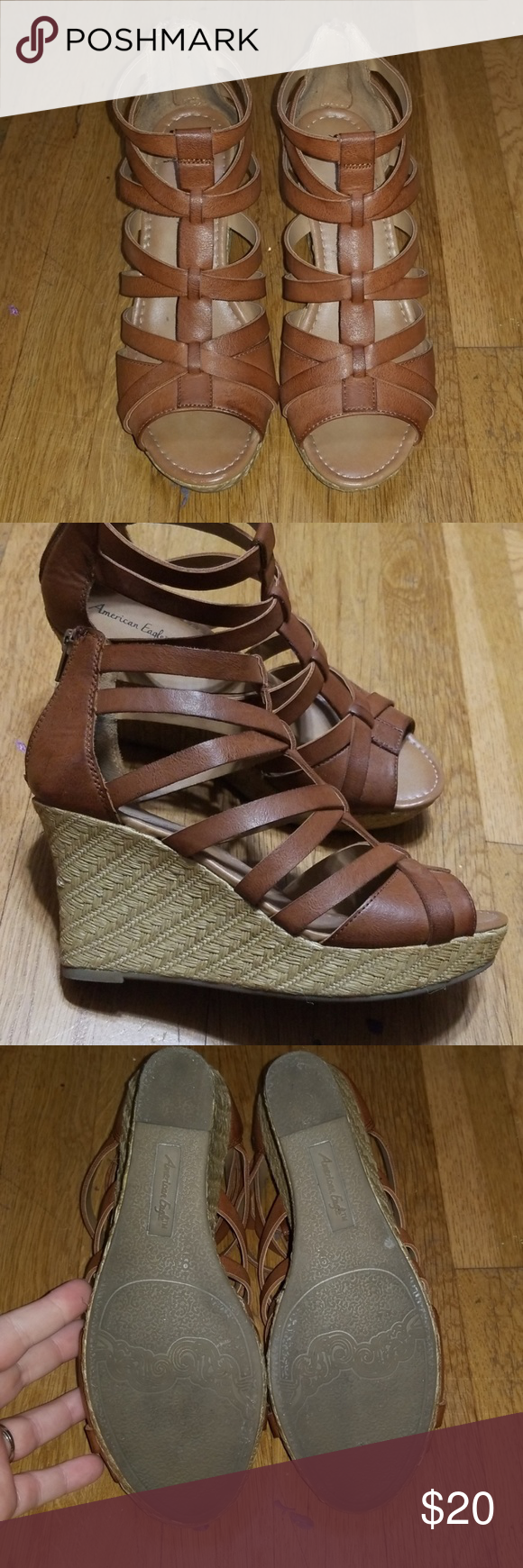 c213a02f28 Brown strappy wedge sandals Strappy, adorable wedges that scream flirty  spring or summer dress! Gladiator strappy style with twine detail on  platforms.