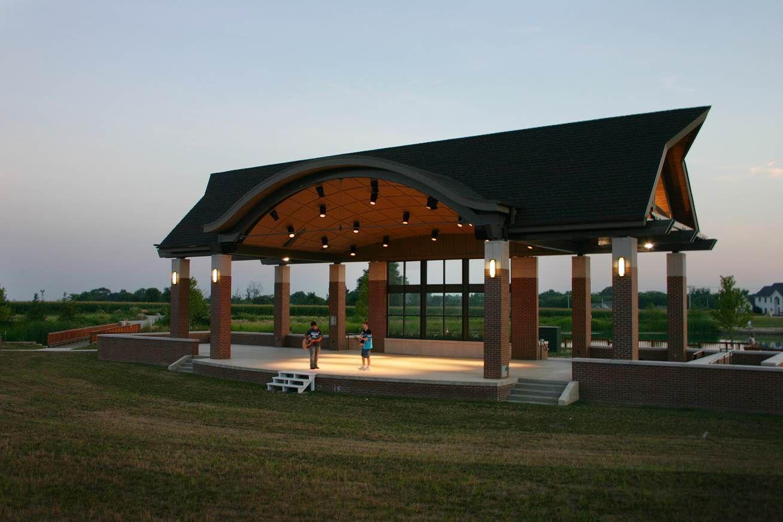 Fletcher Park In Mt Zion Illinois Amphitheater Social Center Outdoor Pavilion Outdoor Pavilion Purple And Green Wedding Park Wedding Ceremony