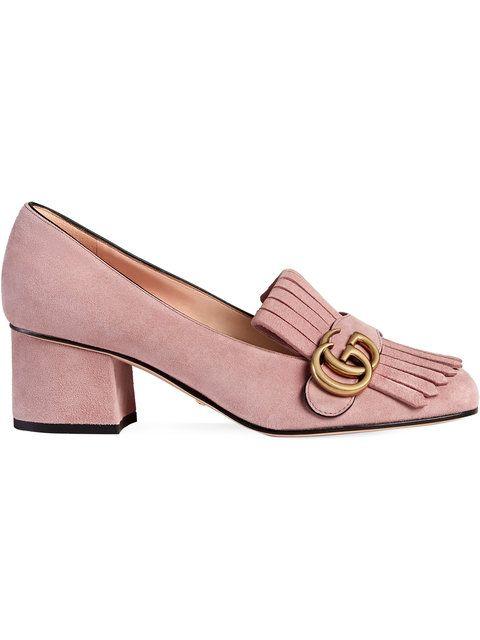 96a0e578 Gucci Zapatos De Tacón En Ante De Tacón Medio - Farfetch