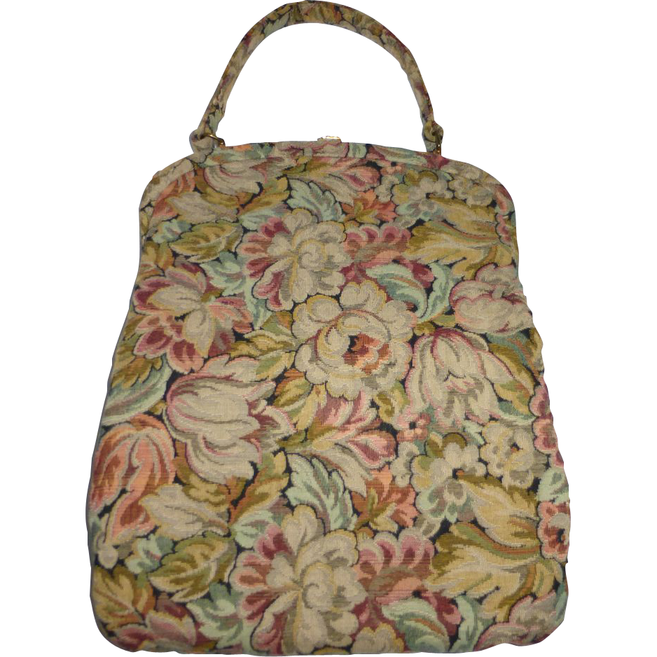 1940s Floral Tapestry Purse Floral Tapestry Vintage Purses Purses
