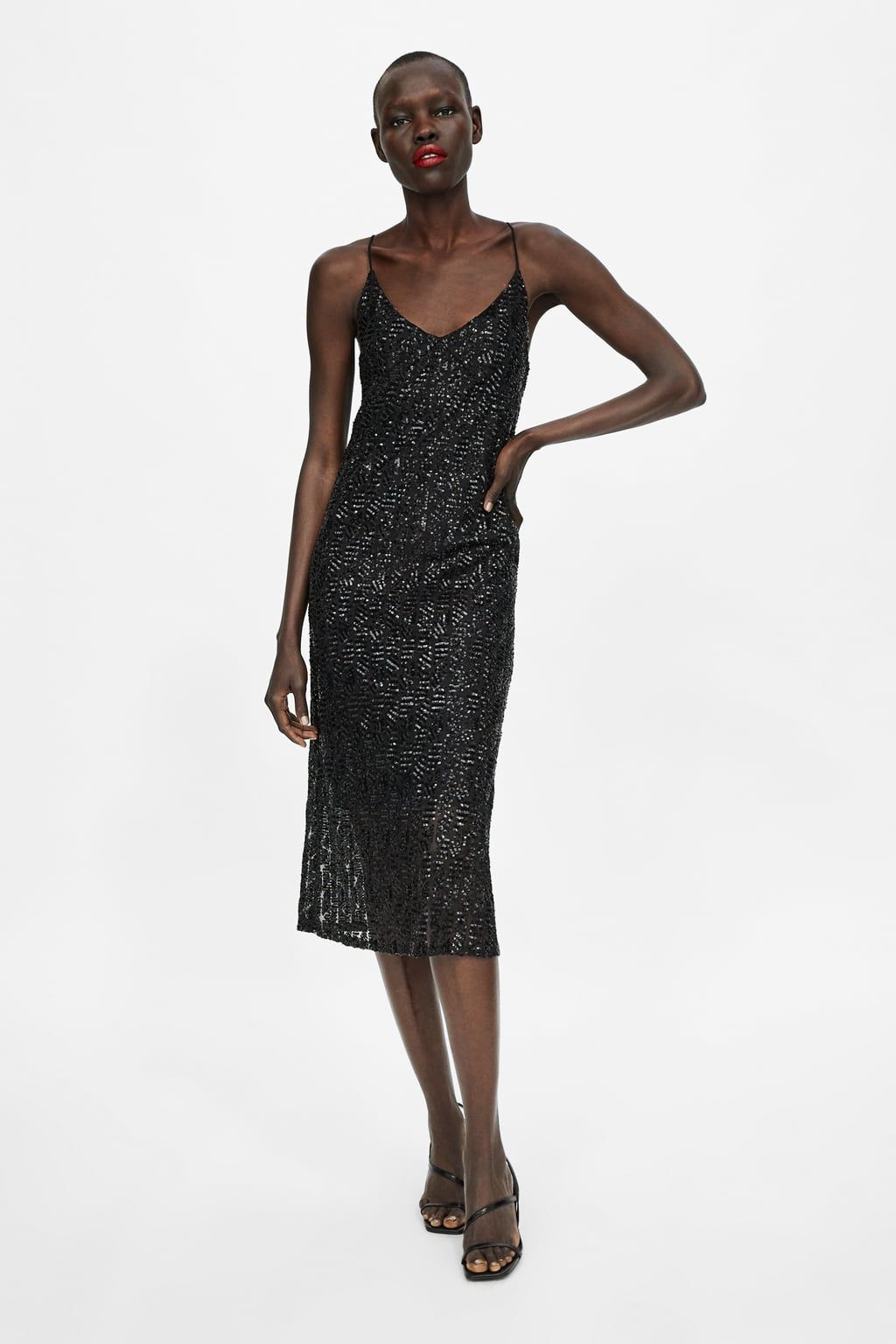 a5d350a9 Image 1 of STRAPPY DRESS WITH SEQUINS from Zara | Editor Wish List ...