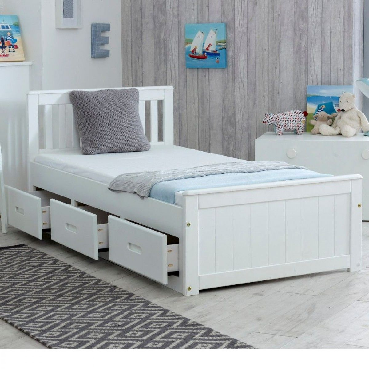 Mission White Wooden Storage Bed Bed Frame With Storage Single