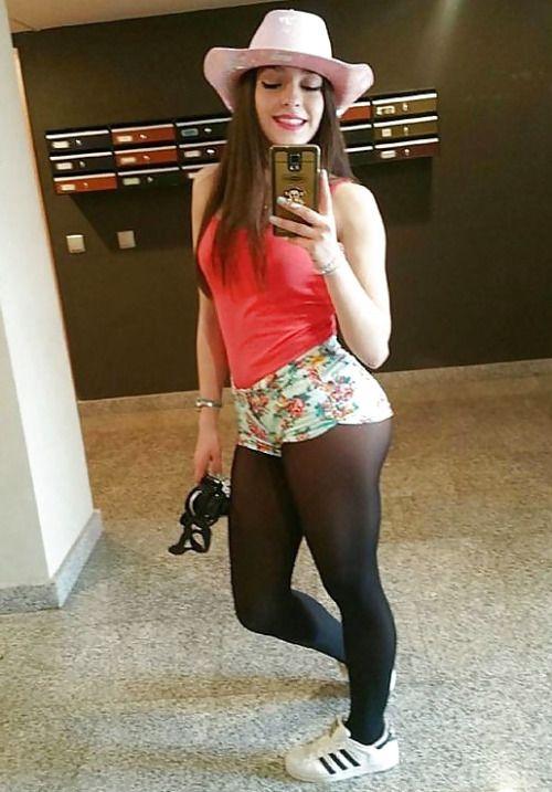 selfie stockings short skirt