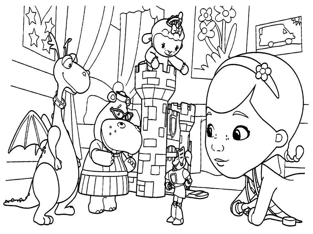 детские раскраски доктор плюшева раскраски для детей