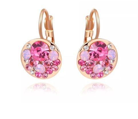 Rose gold plated rhinestone earrings.