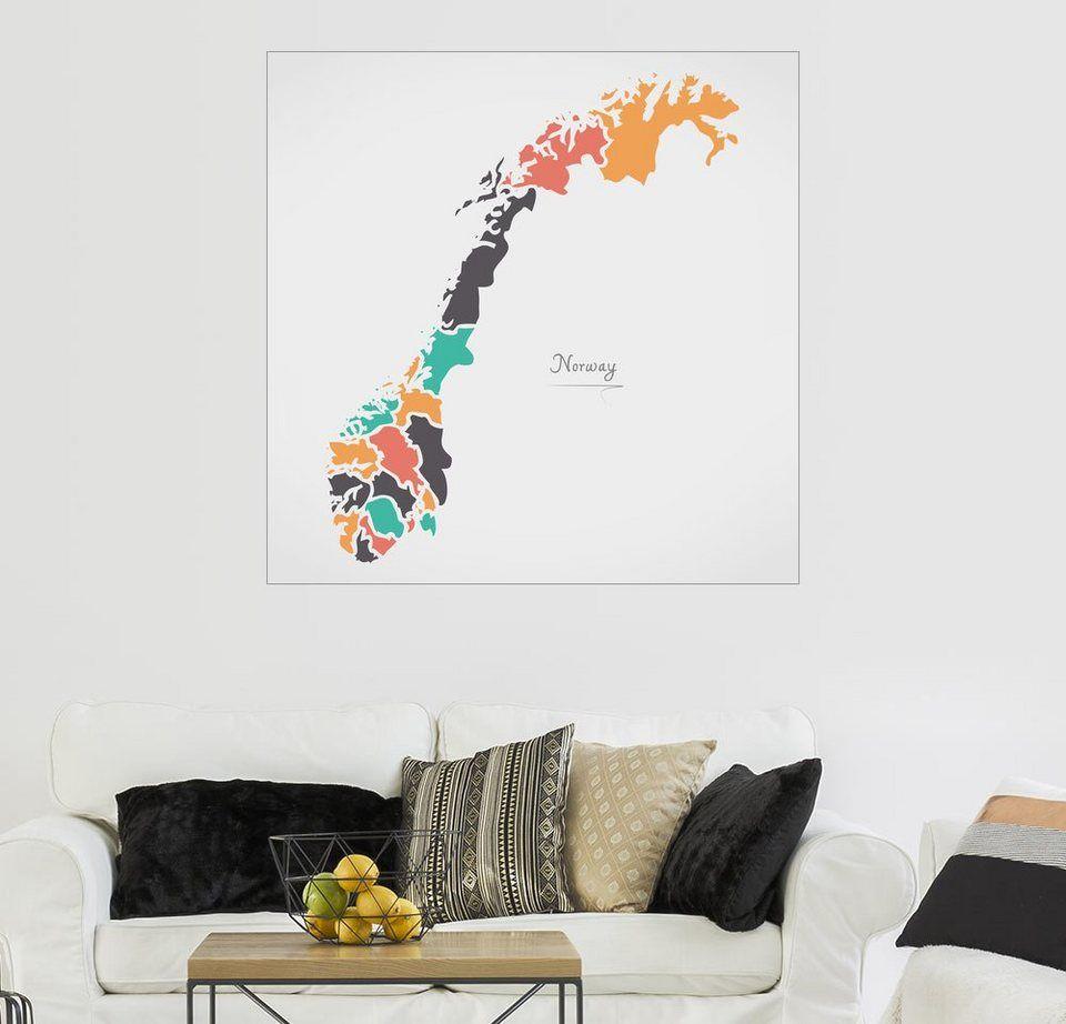 Posterlounge Wandbild Ingo Menhard Italien Landkarte Modern Map