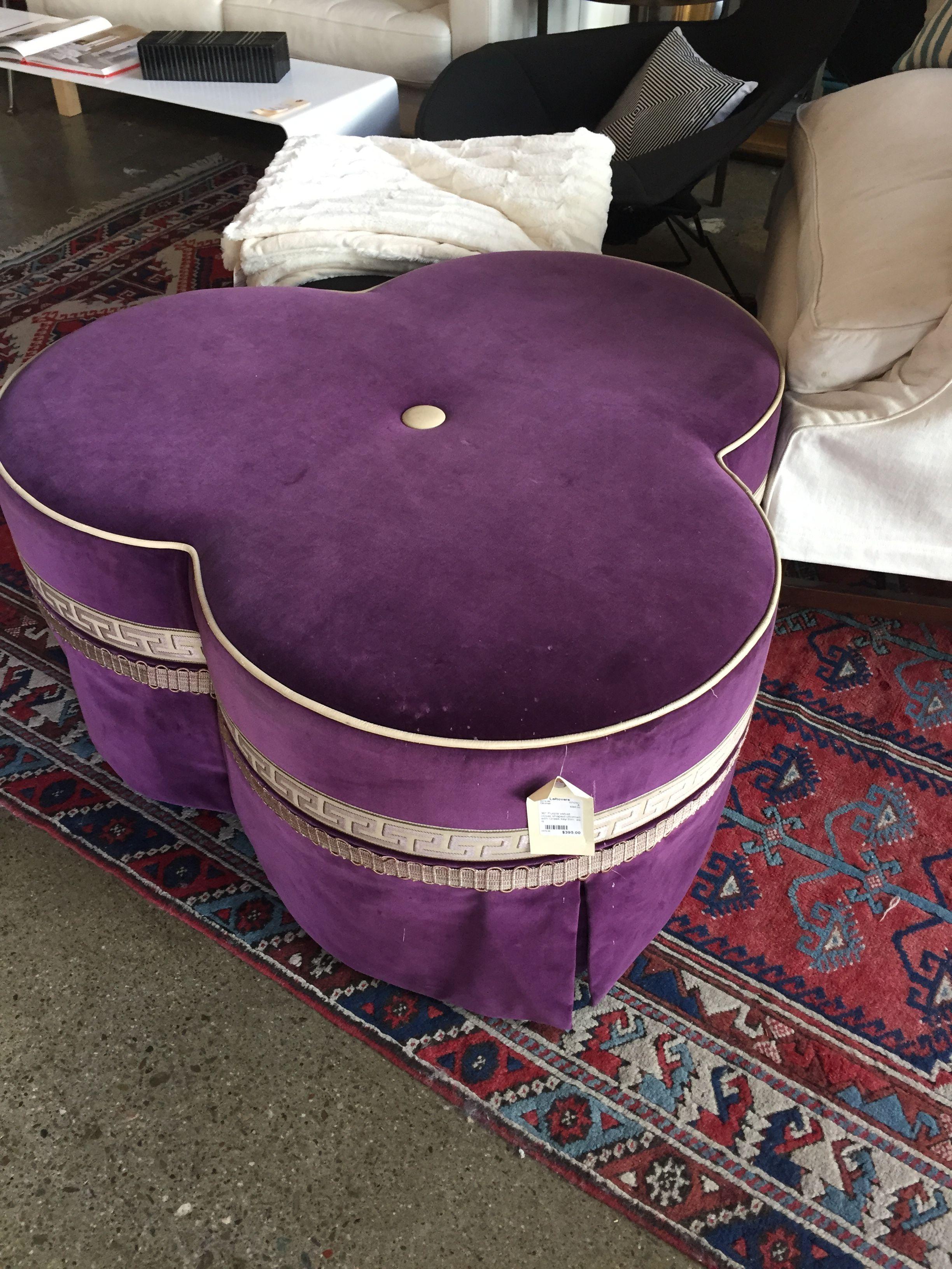36 Purple Velvet Clover Shaped Ottoman With Greek Key Trim 395