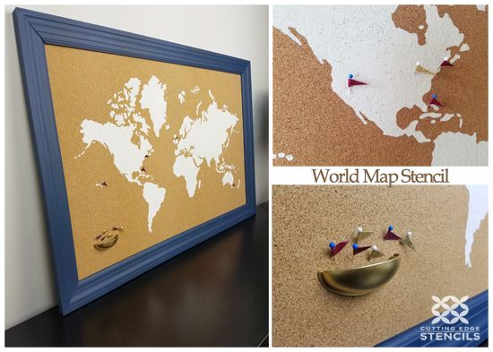 How to stencil a cork board using the world map pattern cork how to stencil a cork board using the world map pattern gumiabroncs Image collections
