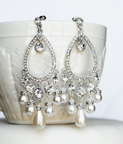 Bridal Pearl Rhinestone Chandelier Earrings Peacock Feather Wedding Jewelry Crystal Er040lx