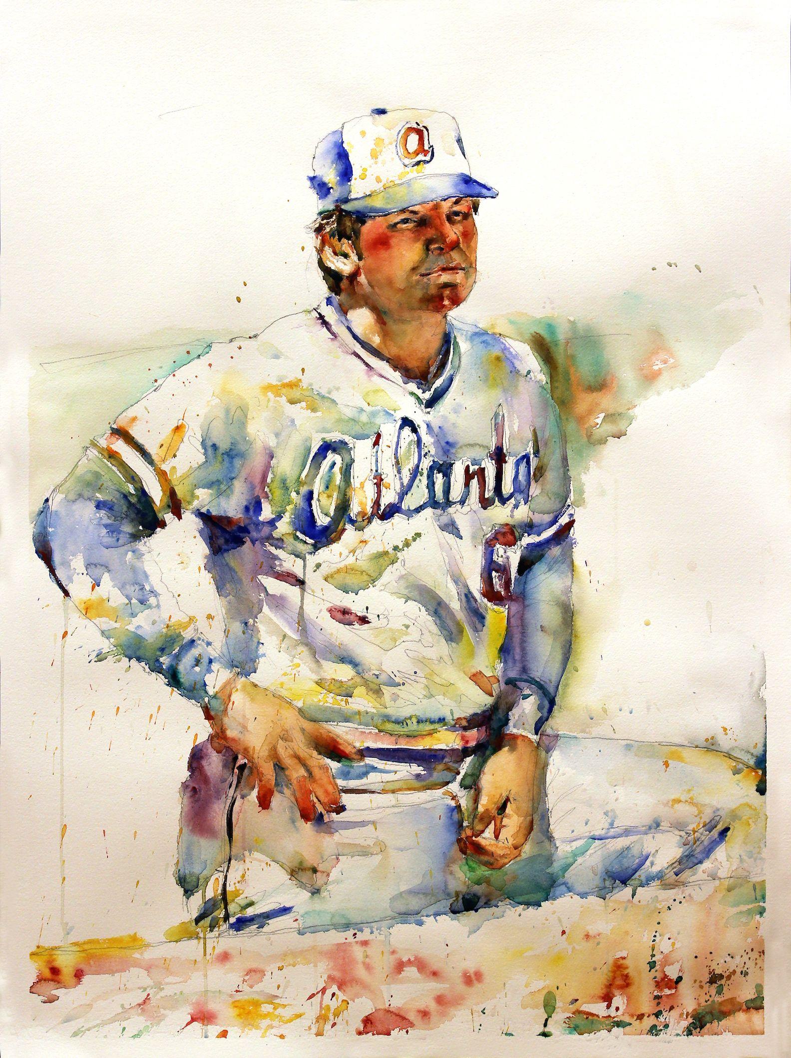 Bobby cox watercolor 22 x 30 atlanta braves richard for Atlanta mural artist
