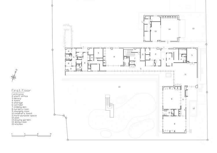 Gallery Of Mrn Kindergarten And Nursery Hibinosekkei Youji No Shiro 31 In 2020 Ground Floor Plan Nursery Kindergarten