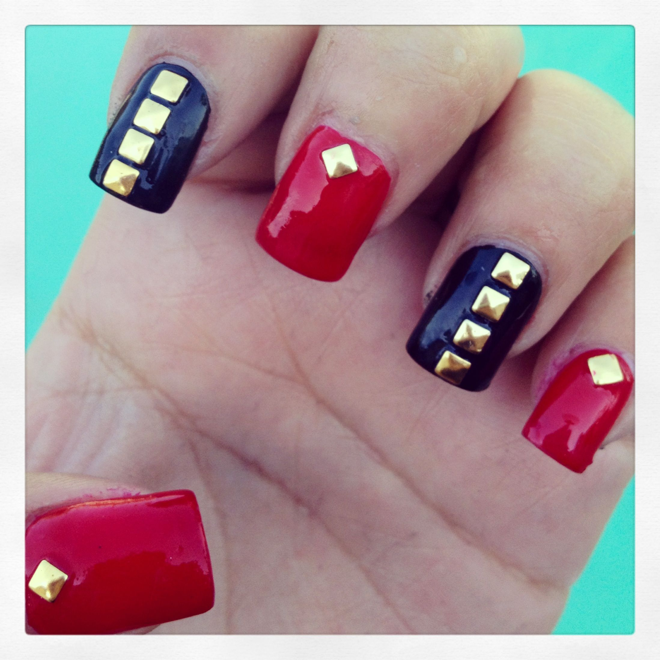 Red, Black & Gold Studded Nails