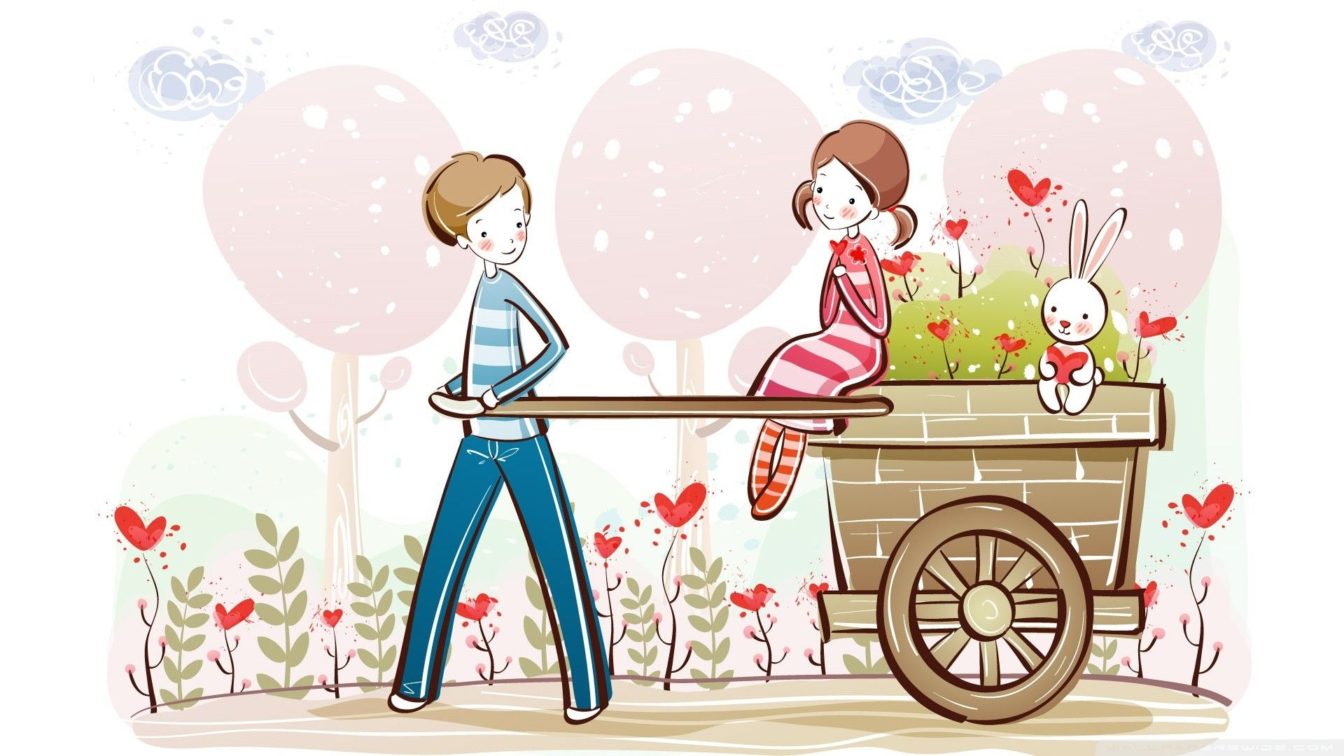 valentines day cartoons love couple vector wallpapers 22
