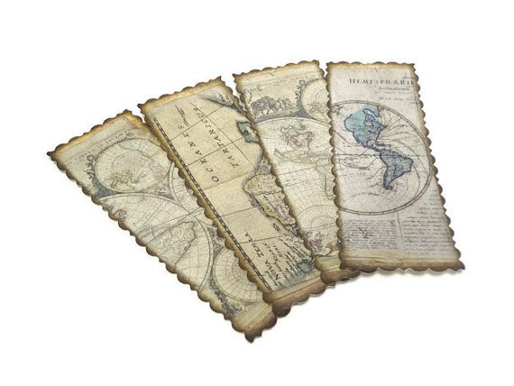 Antique map bookmarks travel gifts pinterest antique maps antique map bookmarks vintage style travel themed party favors world map bookmarks indiana jones party gumiabroncs Gallery