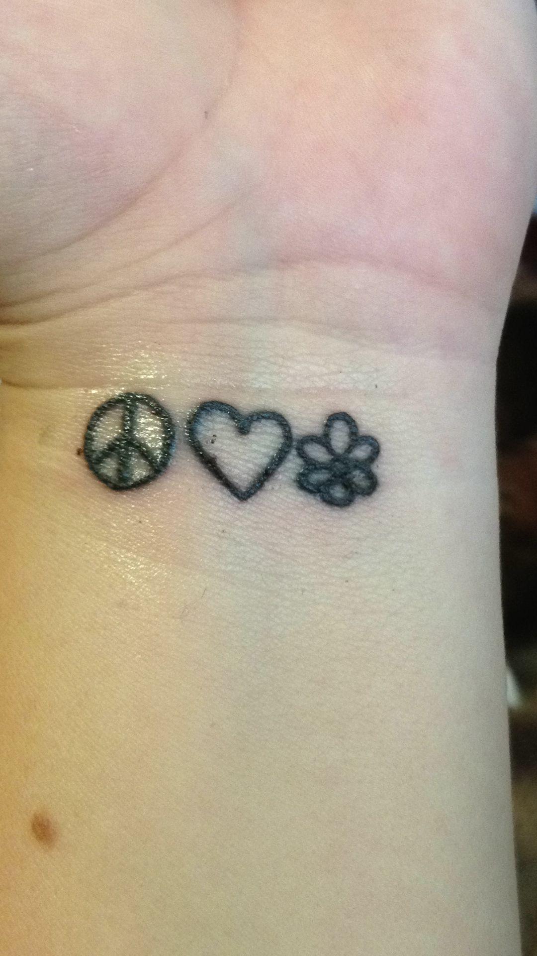 Peace, love, happiness wrist tattoo Tattoos, Wrist