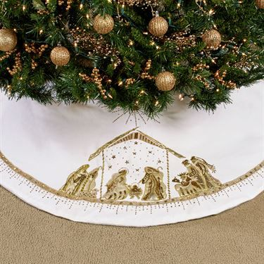 Nativity Beaded White Christmas Tree Skirt Quilt ideas Pinterest