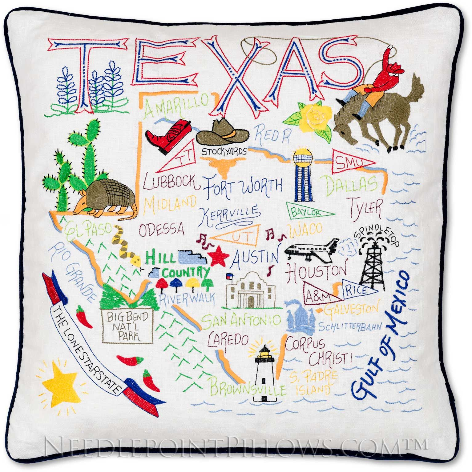 Handmade Texas State Throw Pillow