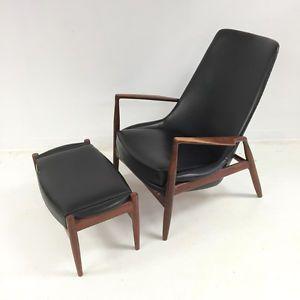 ib kofod larsen seal chair high back danish modern teak lounge chair
