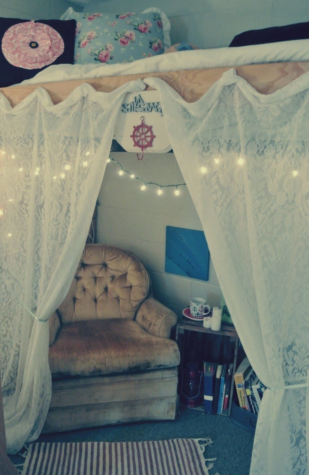 College loft bed ideas  Dorm Roomu Curtains cute you could loft your bed and put these