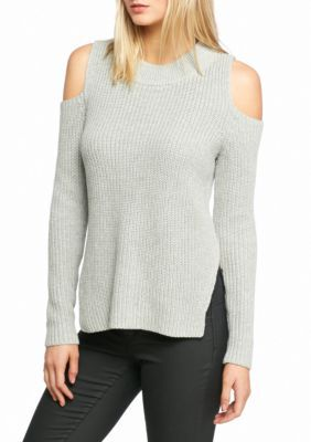 French Connection Gray Cold Shoulder Sweater