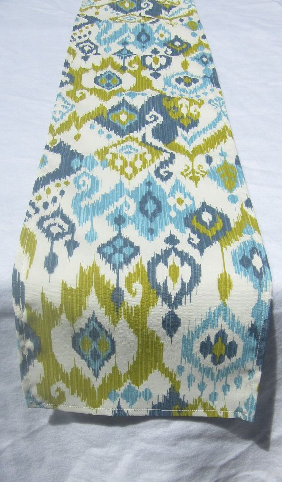 Turquoise, Royal Blue And Lime Green On Ivory Ikat Table Runner  Indoor Or  Outdoor