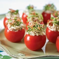 BLT Chicken Salad Stuffed Tomatoes _ Garnish: finely shredded green leaf lettuce, cooked crumbled bacon.
