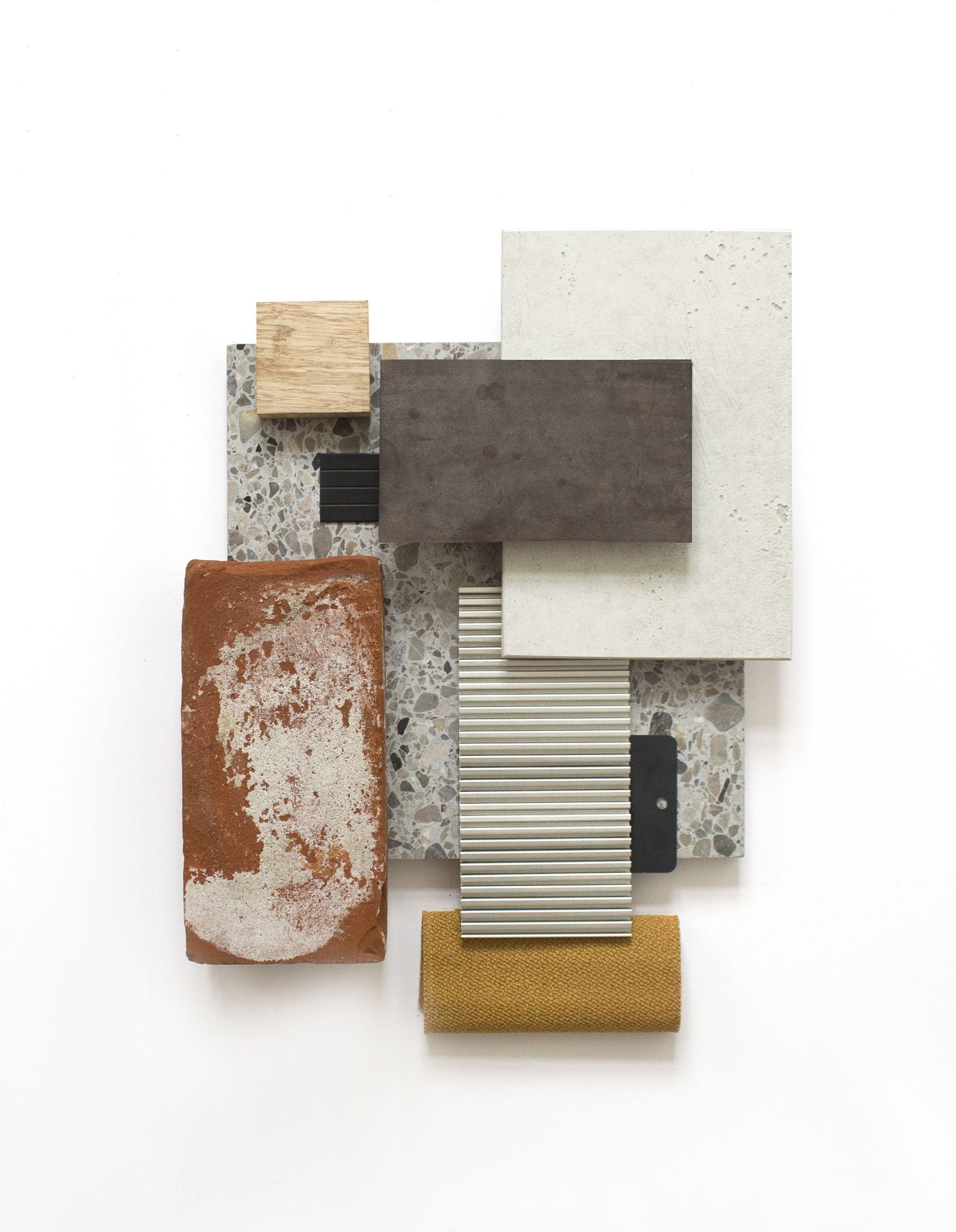 Earthy Materials Diagram Mood Board Interior Grey Exterior