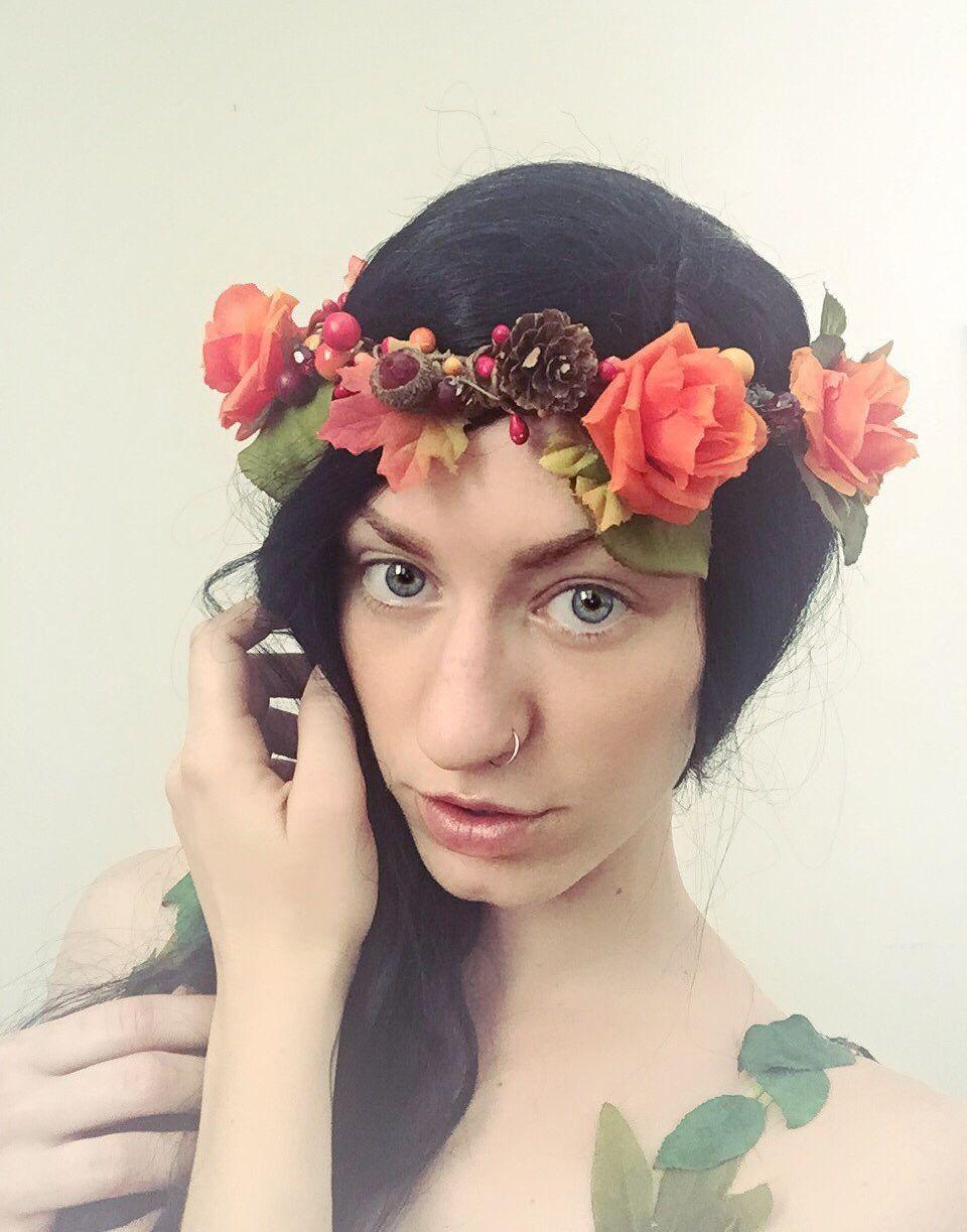 Flower Crown Renaissance Flower Wreath Orange Rose Flower Crown