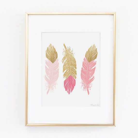 Pink and Gold Feathers Art Print Love Arrows by