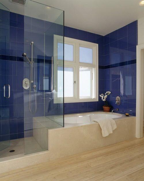 35 Cobalt Blue Bathroom Tile Ideas And Pictures Blue Bathroom Walls Blue Bathroom Blue Bathroom Tile