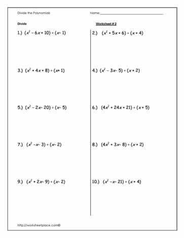 Multiplying And Dividing Polynomials Worksheet ...