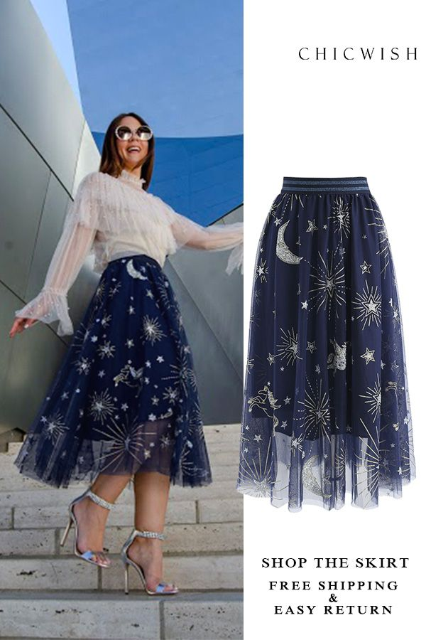 Photo of Free Shipping & Easy Return. Up to 30% Off. Myth Of Stars Mesh Tulle Midi Skirt …