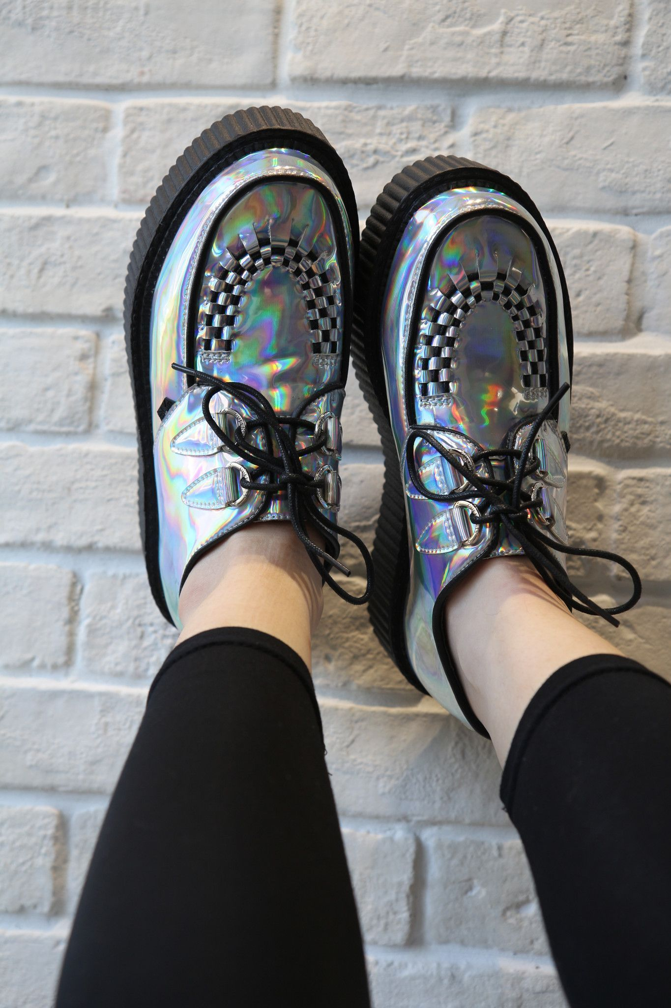 Silver Holographic Platform Creepers Creepers shoes