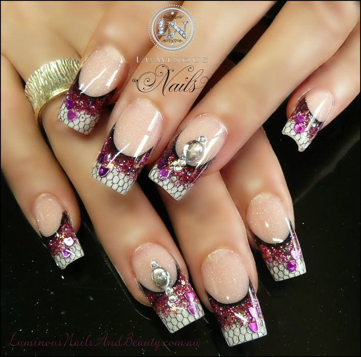 luminous nails ruby glitter nails with black netting
