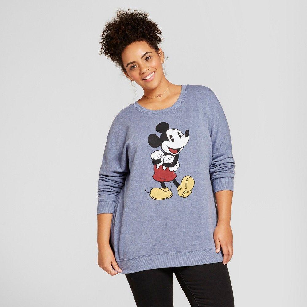 a285e83e76a Women s Plus Size Disney Mickey Mouse Long Sleeve Graphic Sweatshirt ( Juniors ) - Navy 2X