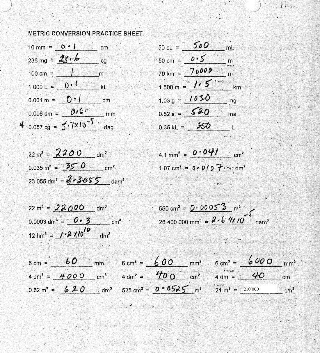Metric Conversion Worksheet Answer Key Metric Conversions
