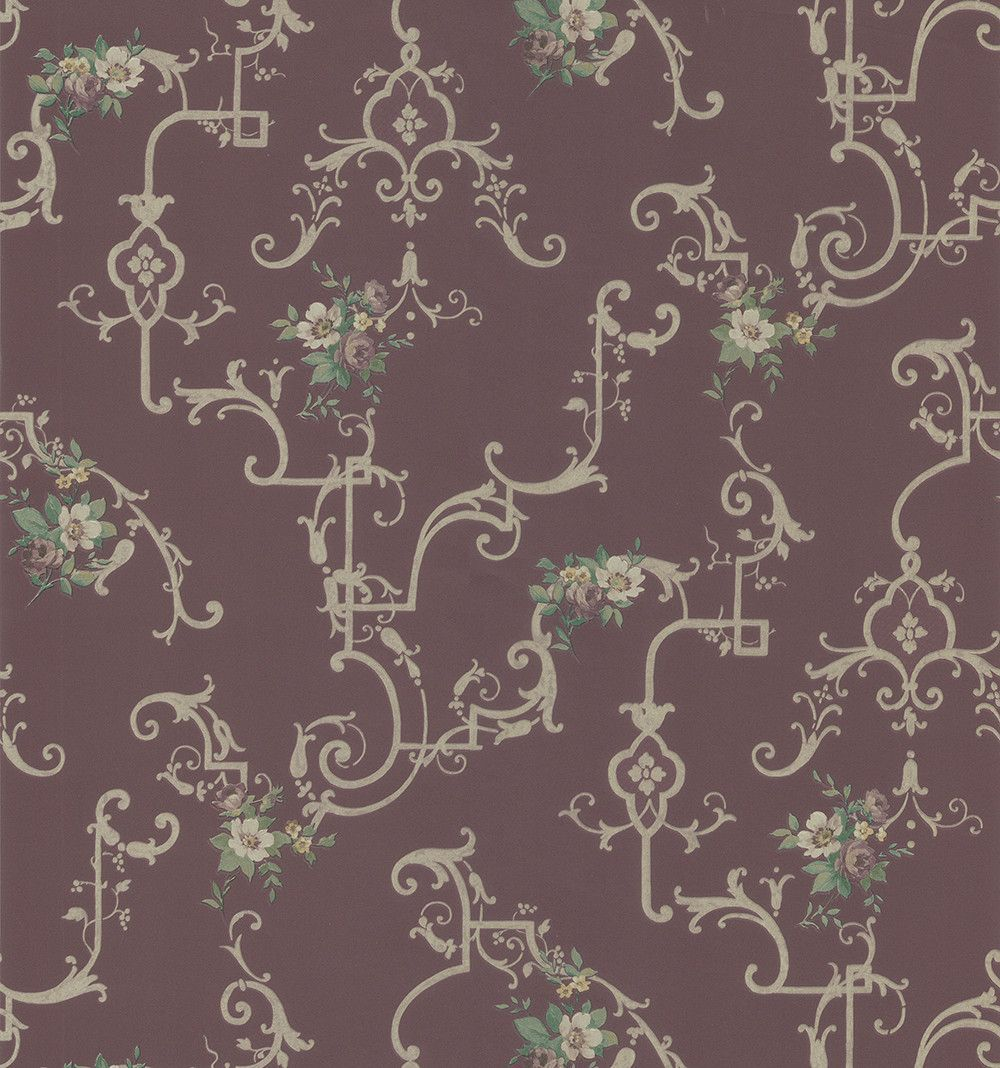 """33' x 20.5"""" Flowers and Scrolls Wallpaper"""