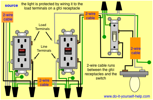 gfci wiring with protected switch and light lighting in. Black Bedroom Furniture Sets. Home Design Ideas