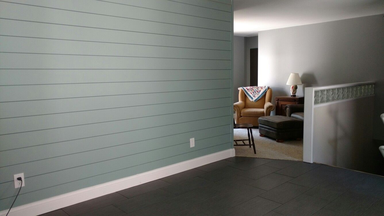 Plank Wall Faux Shiplap Done In 6 Mdf Boards 16 Long Nickel Spacers Paint Color Is Sherwin Williams Halcyo Ship Lap Walls Faux Shiplap Modern Farmhouse