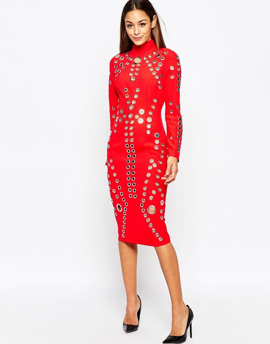 Eyelet Red Midi Dress Midi Dresses Dresses Red Midi Dress